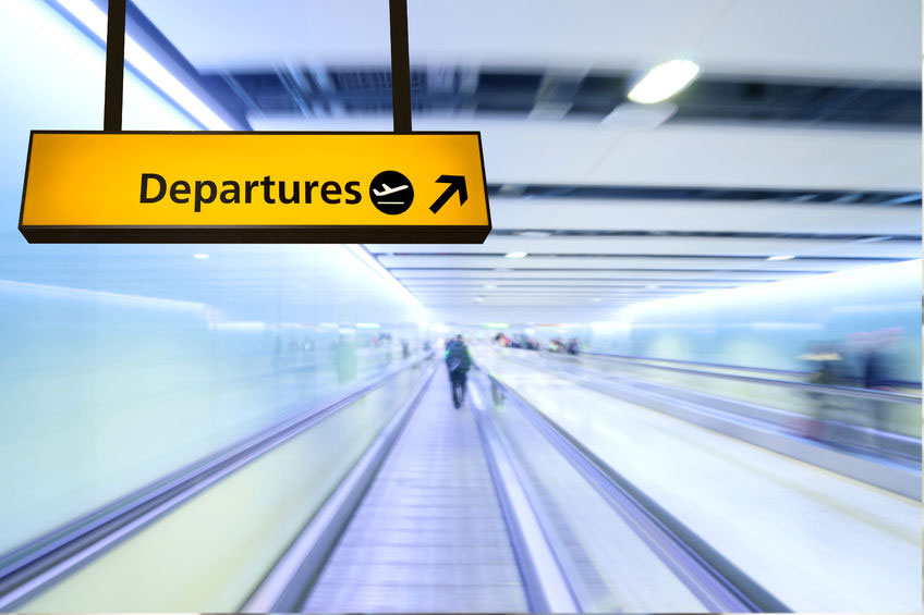 Departure sign and moving floor
