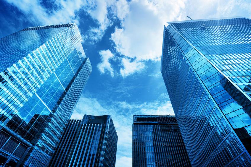 Commercial blue skyscrape